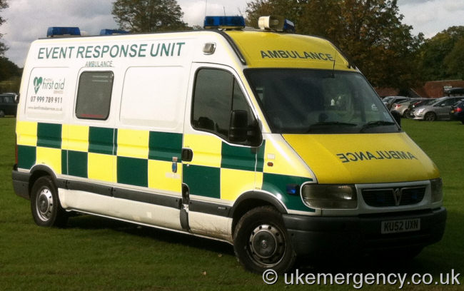 KU52 UXN This Vauxhall ambulance is used by Kent First Aid