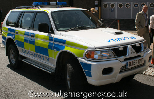 Miscellaneous uk emergency vehicles page 4 bj56 onp this is a mitsubishi shogun that is used by birmingham necs security guards it is fitted with blue flashing lights and police style markings and aloadofball Image collections